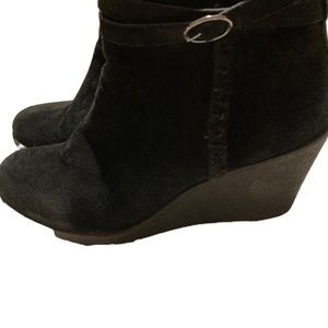 Bjorndal Black Suede Side Zip Wedge Ankle Boots Size 10